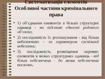 Систематизація елементів Особливої частини кримінального права 1) об'єднання ...