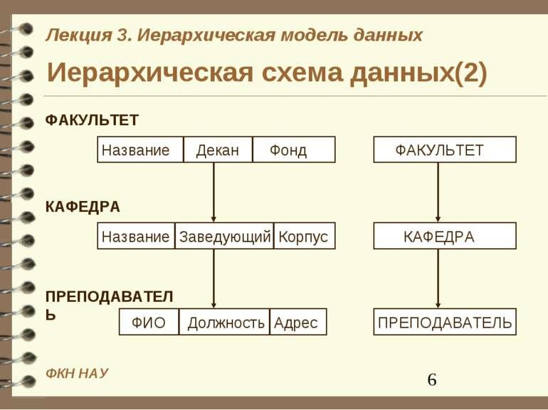 Иерархическая схема данных(2) ФКН НАУ Лекция 3. Иерархическая модель данных