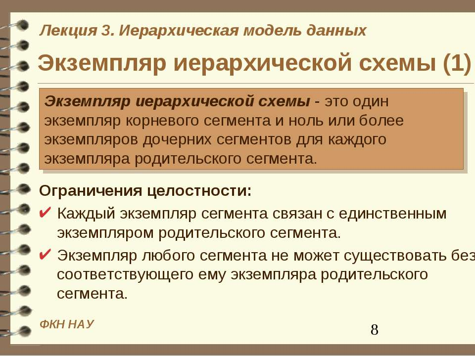 Экземпляр иерархической схемы (1) Ограничения целостности: Каждый экземпляр с...