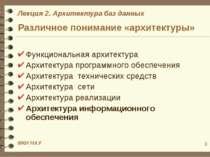 * Различное понимание «архитектуры» Функциональная архитектура Архитектура пр...