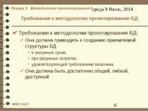 Требования к методологии проектирования БД Требования к методологии проектиро...