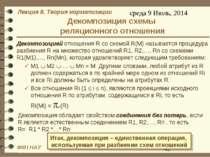 Декомпозиция схемы реляционного отношения Декомпозицией отношения R со схемой...