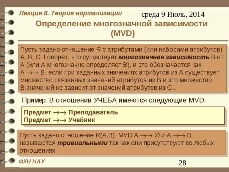 Определение многозначной зависимости (MVD)