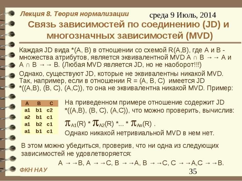 Связь зависимостей по соединению (JD) и многозначных зависимостей (MVD) Кажда...