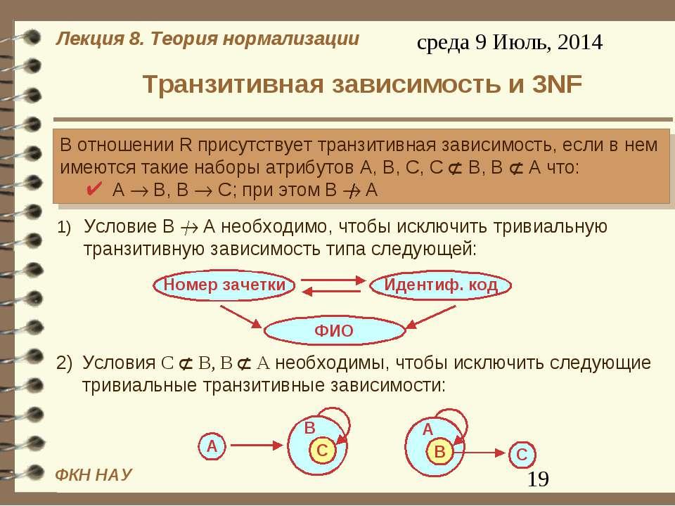 Транзитивная зависимость и 3NF