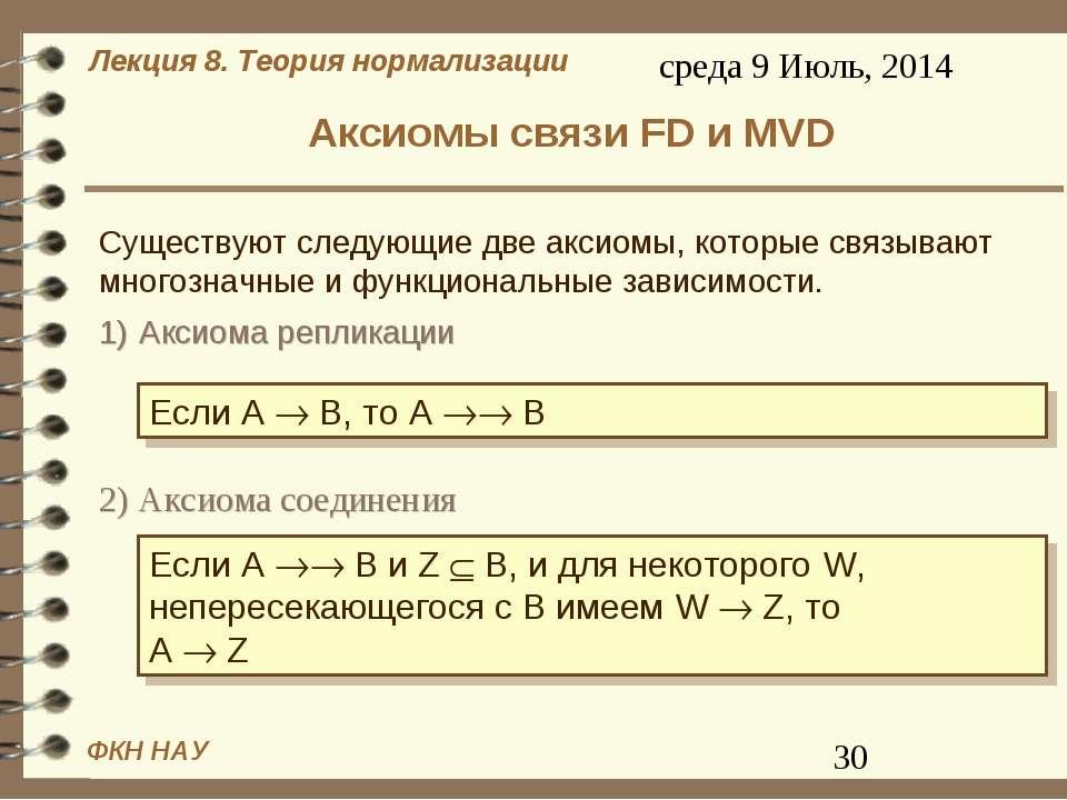 Аксиомы связи FD и MVD 1) Аксиома репликации