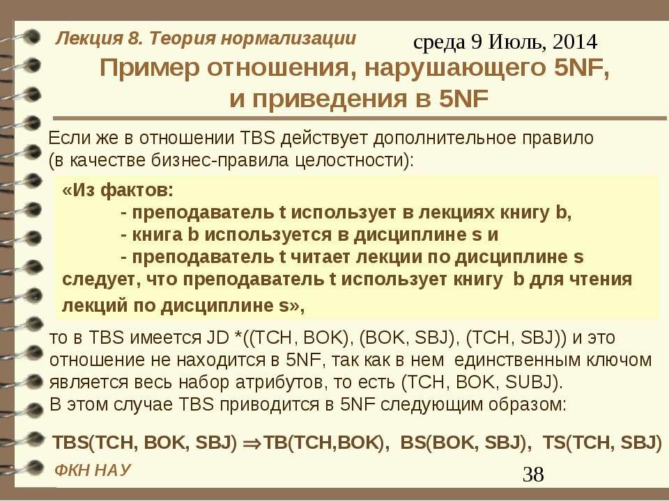 Пример отношения, нарушающего 5NF, и приведения в 5NF