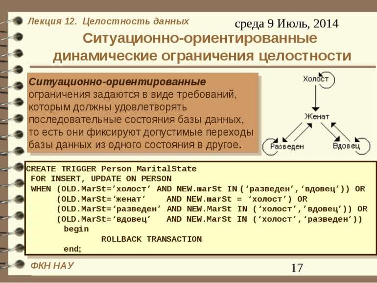 Ситуационно-ориентированные динамические ограничения целостности Ситуационно-...