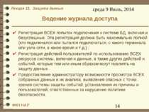 Ведение журнала доступа Регистрация ВСЕХ попыток подключения к системе БД, вк...