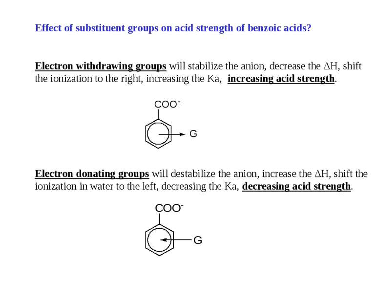 Effect of substituent groups on acid strength of benzoic acids? Electron with...