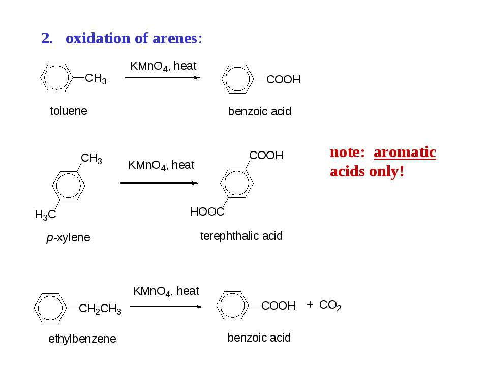 oxidation of arenes: note: aromatic acids only!