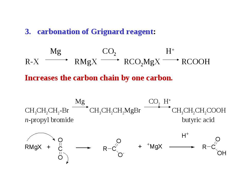 carbonation of Grignard reagent: R-X RMgX RCO2MgX RCOOH Increases the carbon ...