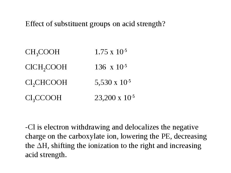 Effect of substituent groups on acid strength? CH3COOH 1.75 x 10-5 ClCH2COOH ...
