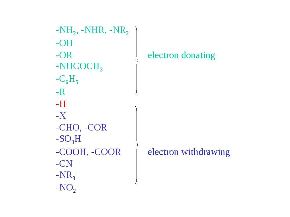 -NH2, -NHR, -NR2 -OH -OR electron donating -NHCOCH3 -C6H5 -R -H -X -CHO, -COR...