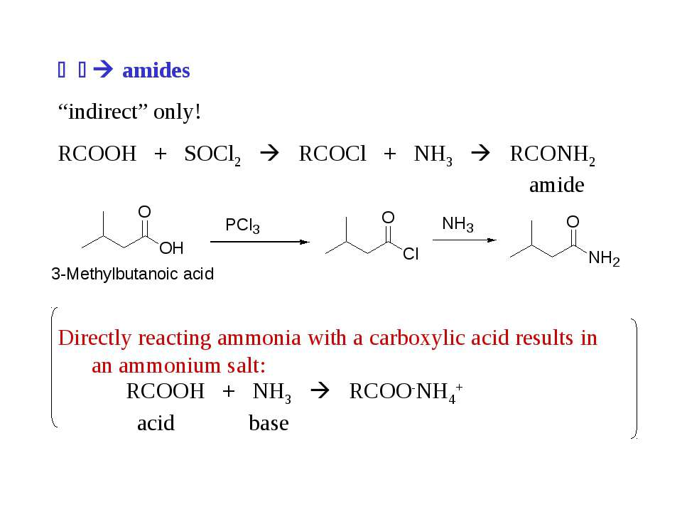 "amides ""indirect"" only! RCOOH + SOCl2 RCOCl + NH3 RCONH2 amide Directly react..."