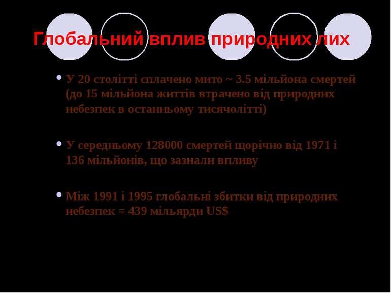 Глобальний вплив природних лих У 20 столітті сплачено мито ~ 3.5 мільйона сме...