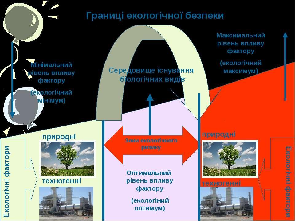 Границі екологічної безпеки Екологічні фактори Екологічні фактори природні пр...