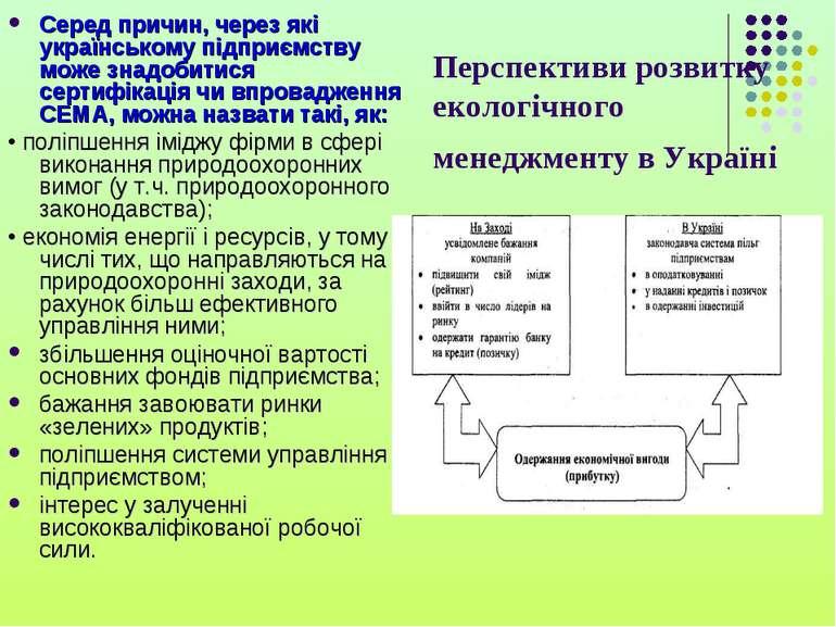 Перспективи розвитку екологічного менеджменту в Україні Серед причин, через я...