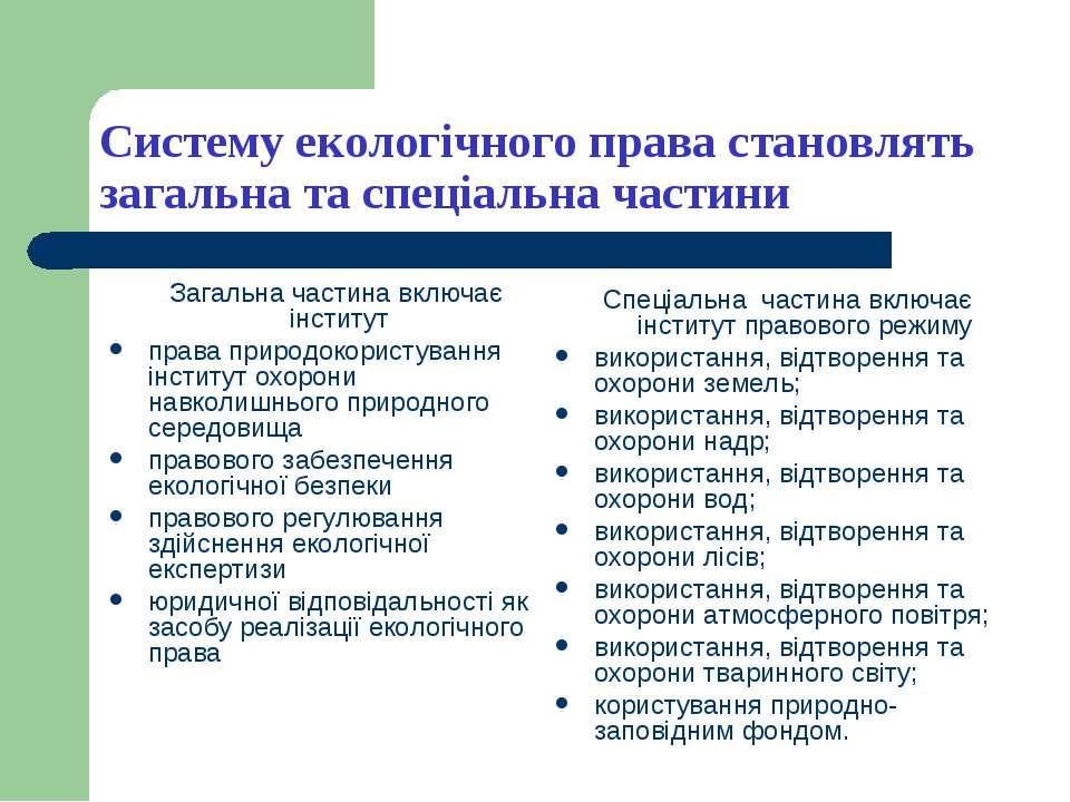Систему екологічного права становлять загальна та спеціальна частини Загальна...
