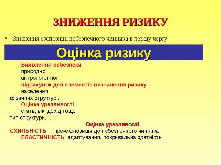 ЗНИЖЕННЯ РИЗИКУ Зниження експозиції небезпечного чинника в першу чергу Оцінка...
