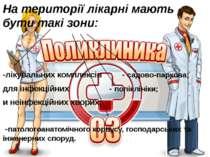 На території лікарні мають бути такі зони: -лікувальних комплексів - садово-п...