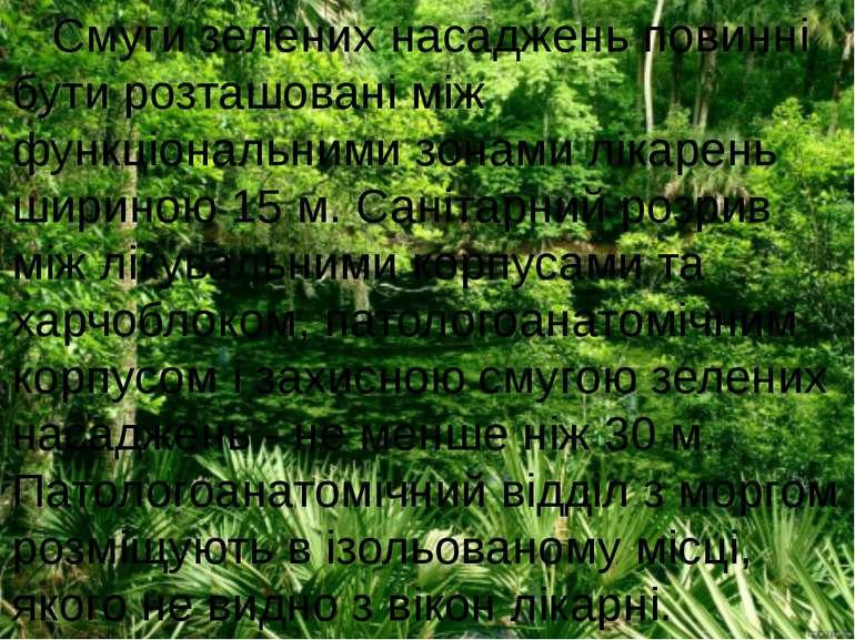 Смуги зелених насаджень повинні бути розташовані між функціональними зонами л...