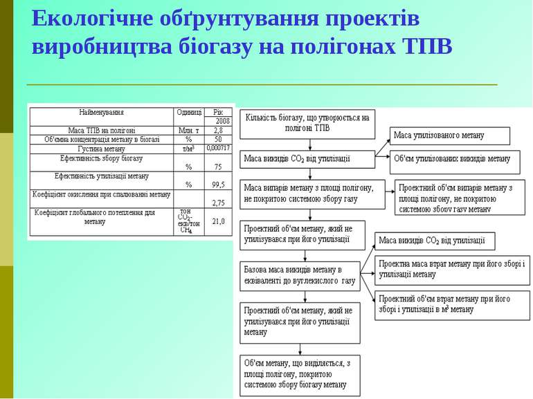 Екологічне обґрунтування проектів виробництва біогазу на полігонах ТПВ