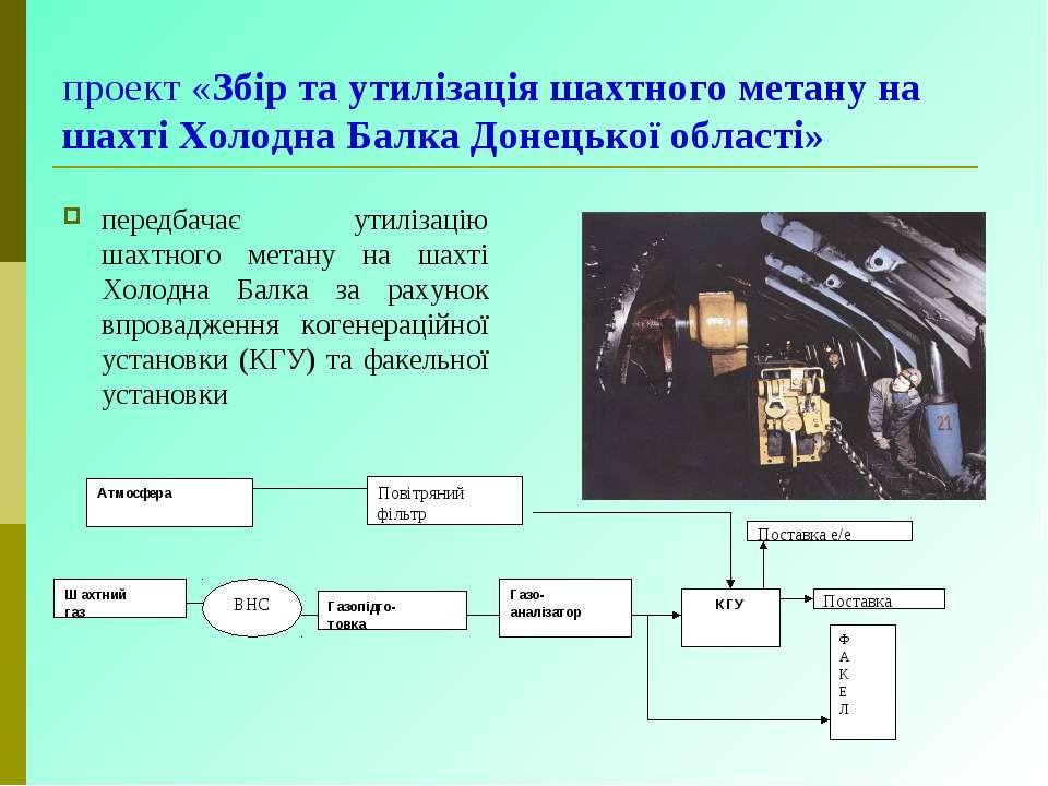 проект «Збір та утилізація шахтного метану на шахті Холодна Балка Донецької о...