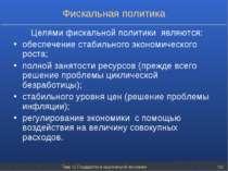 Тема 12. Государство в национальной экономике * Фискальная политика Целями фи...