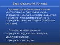 Тема 12. Государство в национальной экономике * Виды фискальной политики Сдер...