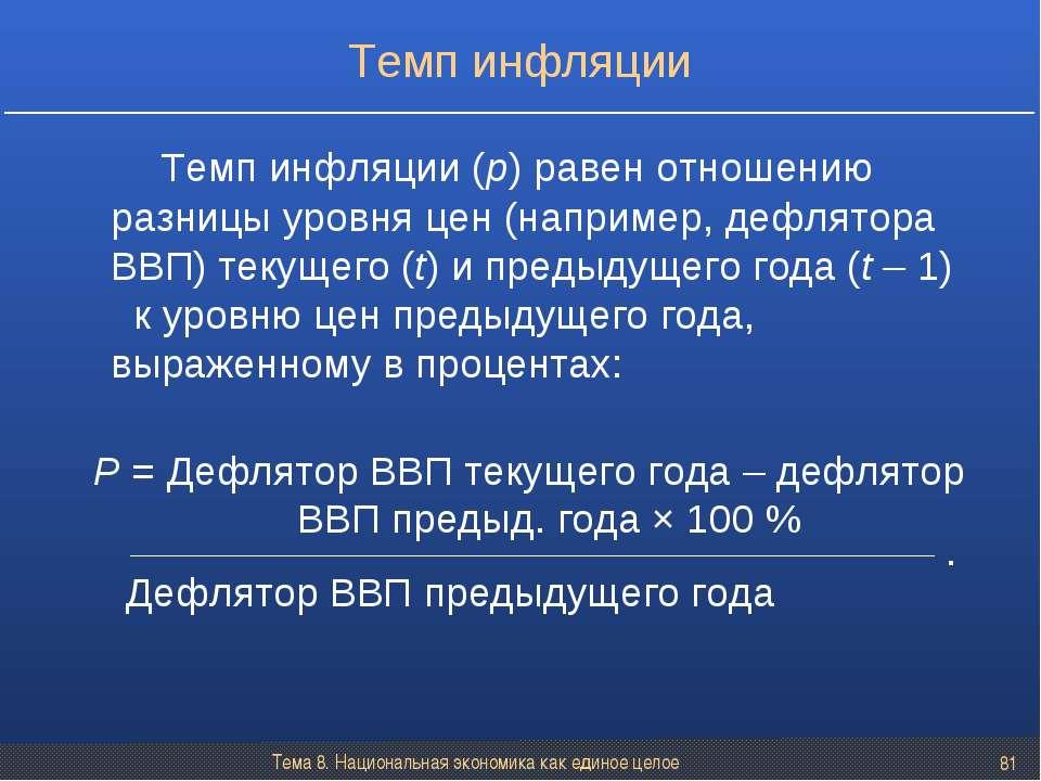 Тема 8. Национальная экономика как единое целое * Темп инфляции (p) равен отн...