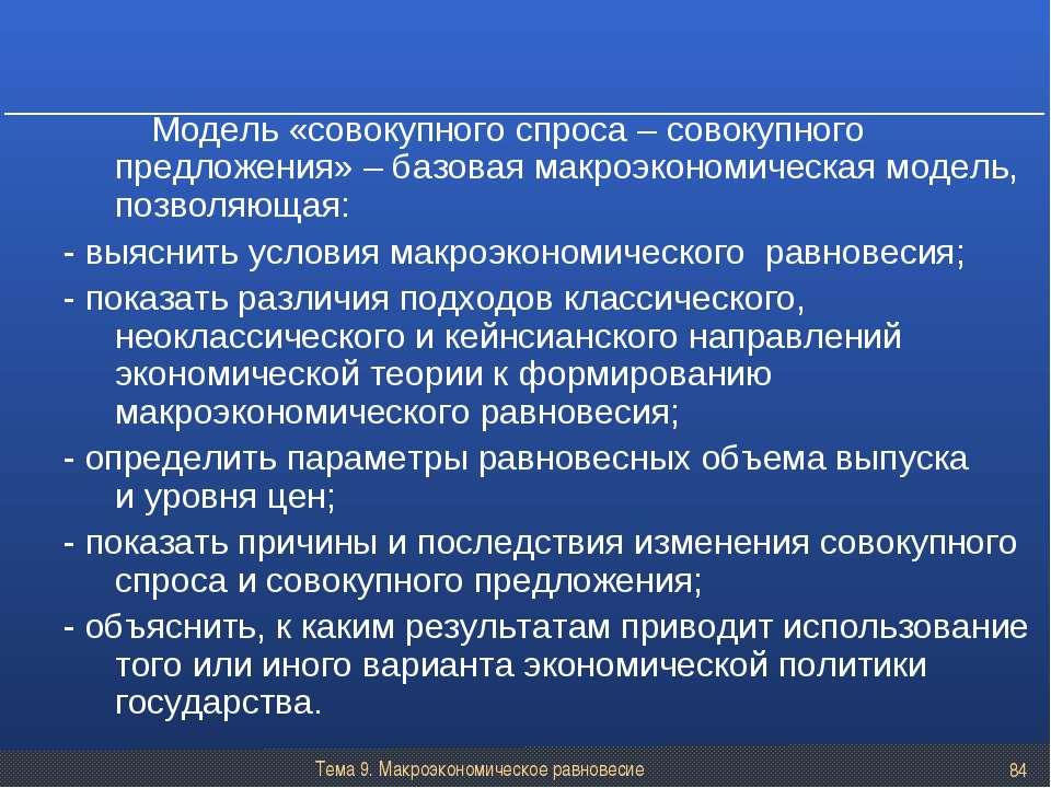Тема 9. Макроэкономическое равновесие * Модель «совокупного спроса – совокупн...