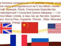 Рада Безпеки складається з 15 держав-членів, котрі в свою чергу розподіляютьс...