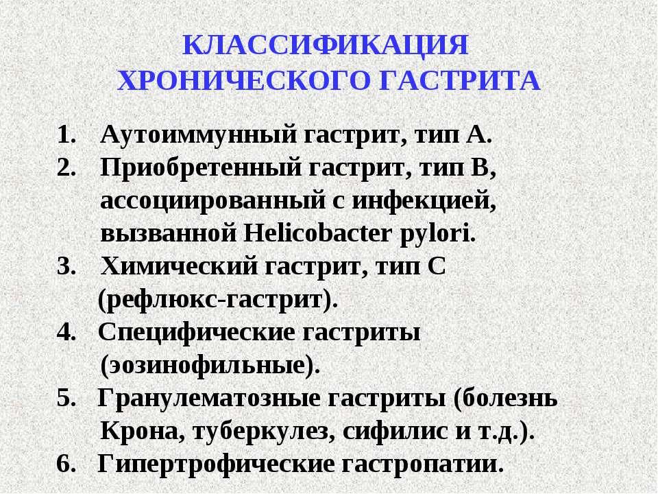 КЛАССИФИКАЦИЯ ХРОНИЧЕСКОГО ГАСТРИТА Аутоиммунный гастрит, тип А. Приобретенны...