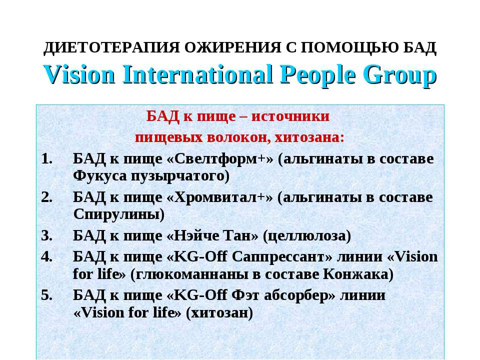 ДИЕТОТЕРАПИЯ ОЖИРЕНИЯ С ПОМОЩЬЮ БАД Vision International People Group БАД к п...
