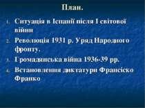 План. Ситуація в Іспанії після І світової війни Революція 1931 р. Уряд Народн...