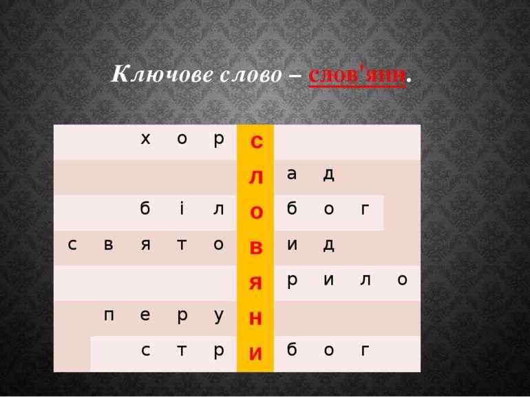 Ключове слово – слов'яни. х о р с л а д б і л о б о г с в я т о в и д я р и л...
