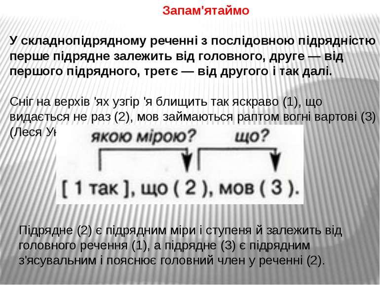 Запам'ятаймо У складнопідрядному реченні з послідовною підрядністю перше підр...