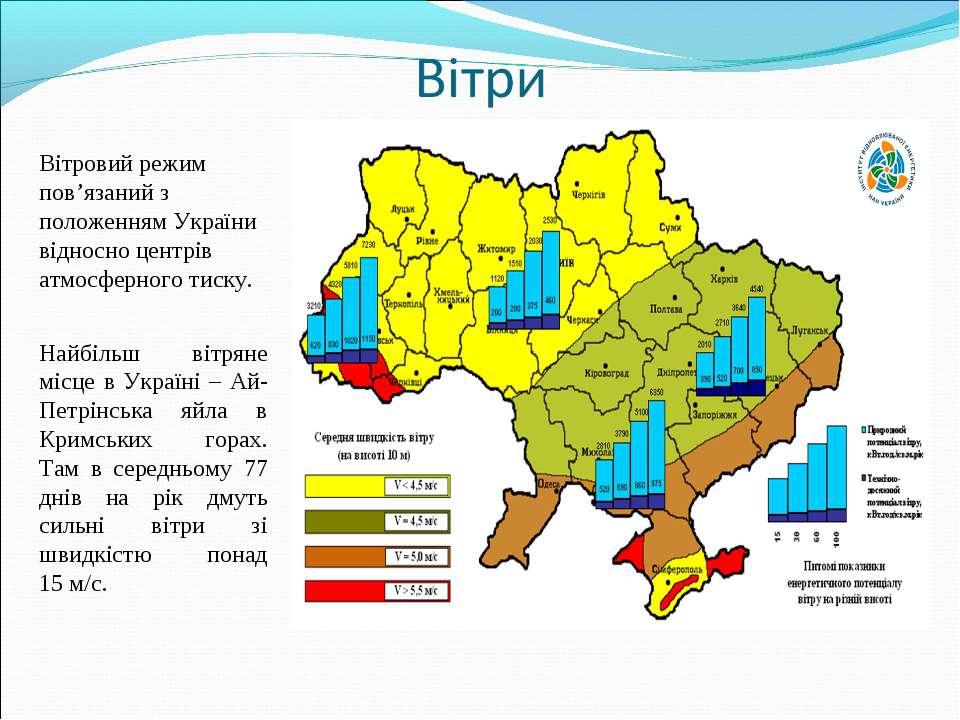 Вітровий режим пов'язаний з положенням України відносно центрів атмосферного ...