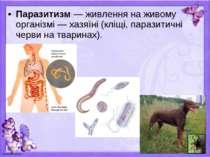 Паразитизм — живлення на живому організмі — хазяїні (кліщі, паразитичні черви...