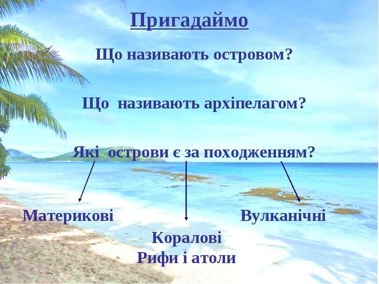 Пригадаймо Що називають островом? Що називають архіпелагом? Які острови є за ...