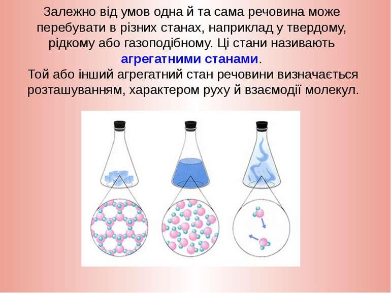 Залежно від умов одна й та сама речовина може перебувати в різних станах, нап...
