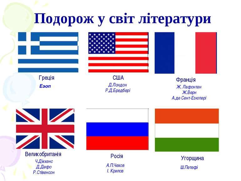 Подорож у світ літератури Греція США Франція Великобританія Росія Угорщина А....