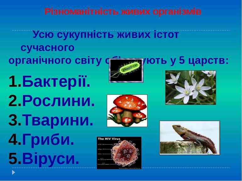 Різноманітність живих організмів Усю сукупність живих істот сучасного органіч...