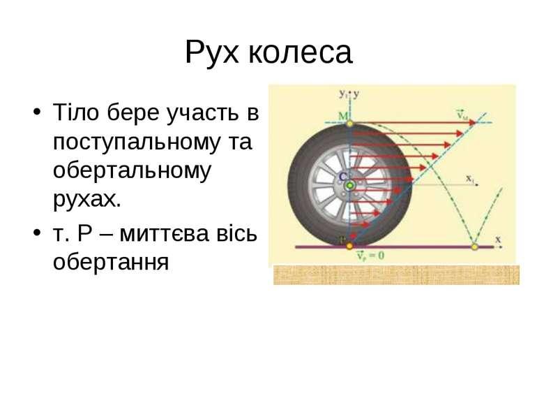 Рух колеса Тіло бере участь в поступальному та обертальному рухах. т. Р – мит...
