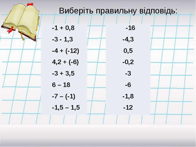Виберіть правильну відповідь: -1 + 0,8 -3-1,3 -4 + (-12) 4,2 + (-6) -3 + 3,5 ...