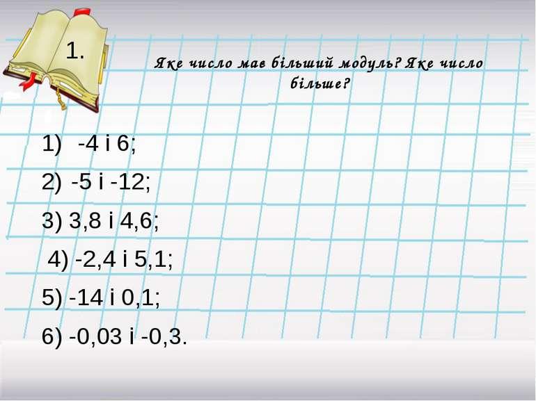 Яке число має більший модуль? Яке число більше? -4 і 6; -5 і -12; 3) 3,8 і 4,...