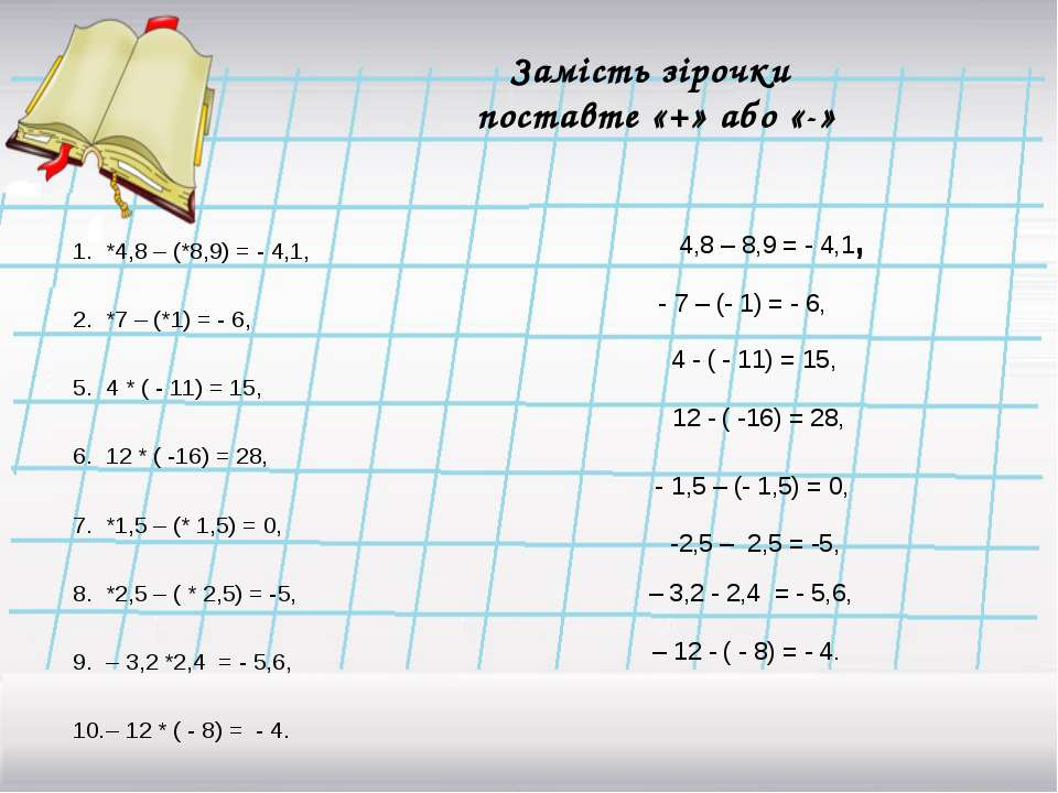 Замість зірочки поставте «+» або «-» *4,8 – (*8,9) = - 4,1, *7 – (*1) = - 6, ...