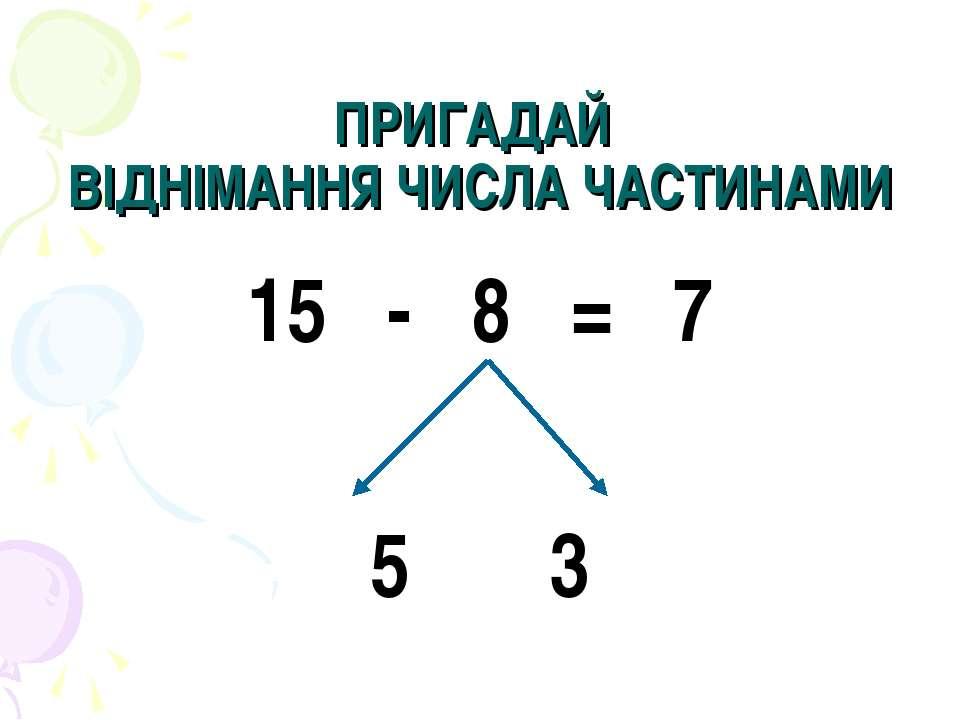 ПРИГАДАЙ ВІДНІМАННЯ ЧИСЛА ЧАСТИНАМИ - 8 = 7 5 3