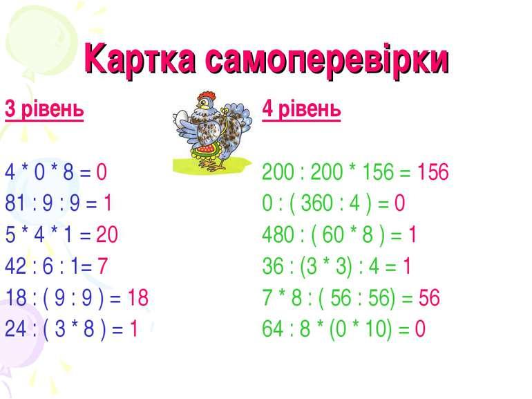 Картка самоперевірки 3 рівень 4 * 0 * 8 = 0 81 : 9 : 9 = 1 5 * 4 * 1 = 20 42 ...
